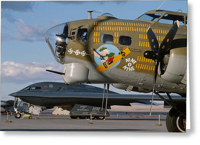 Generations B-17 And B-2 Greeting Card by John Clark