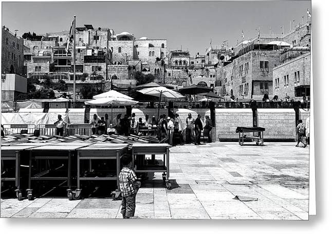 Generations On The Western Wall Plaza Greeting Card