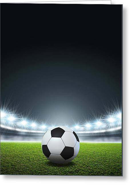Generic Floodlit Stadium Soccer Ball Greeting Card by Allan Swart