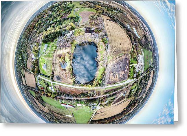 Greeting Card featuring the photograph Genesee Pond Little Planet by Randy Scherkenbach