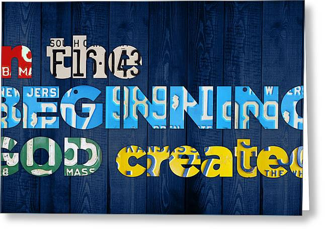 Genesis 1 1 In The Beginning God Created Bible Verse Recycled Vintage License Plate Art Greeting Card by Design Turnpike