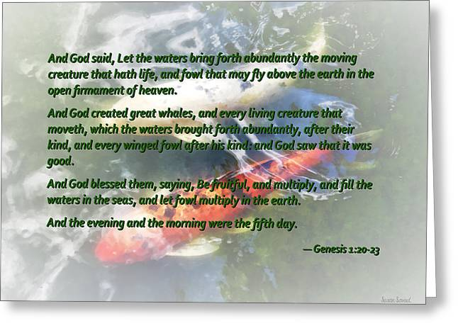 Genesis 1 20-23 And God Said, Let The Waters Bring Forth Abundantly Greeting Card by Susan Savad