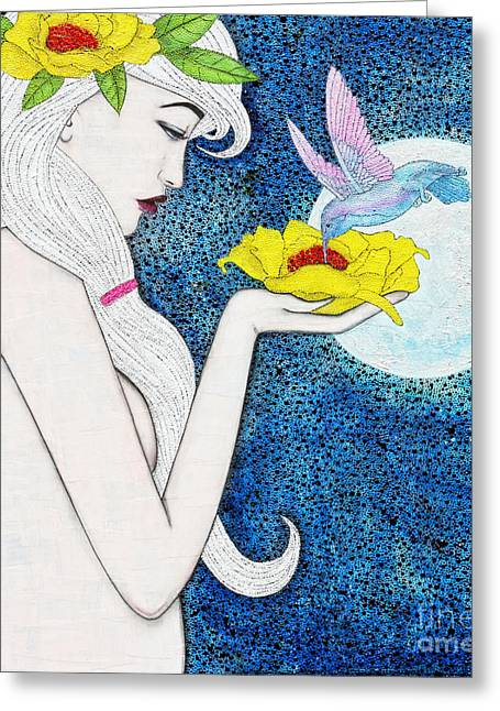 Greeting Card featuring the mixed media Genesis by Natalie Briney