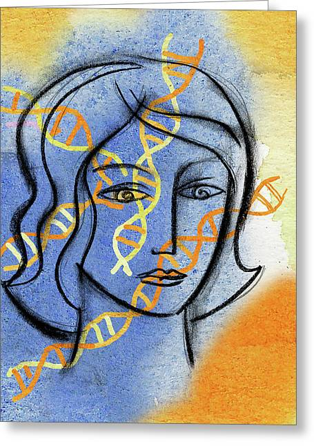 Greeting Card featuring the painting Genetics by Leon Zernitsky
