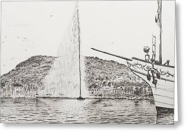 Geneva  Fountain And Bow Of Pleasure Boat Greeting Card
