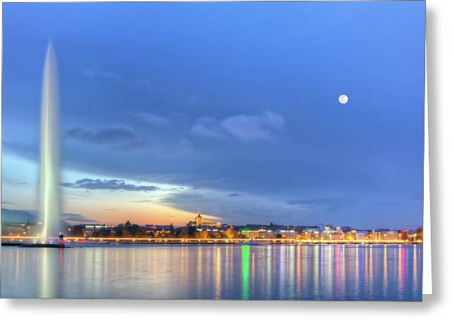 Geneva Lake With Famous Fountain, Switzerland, Hdr Greeting Card