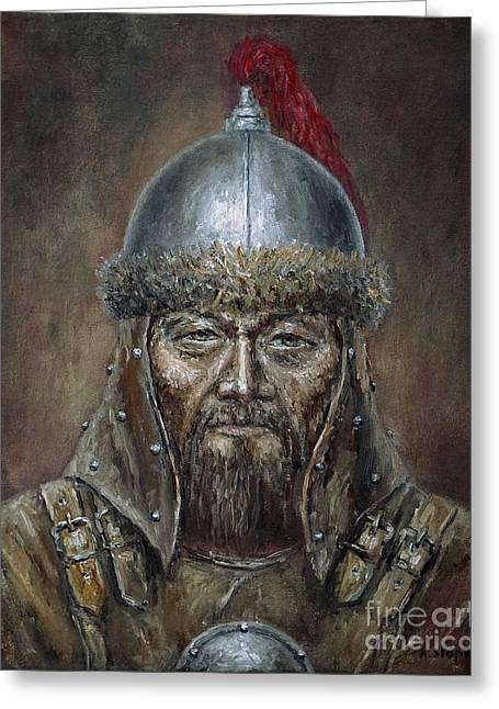 Genhis Khan Greeting Card by Arturas Slapsys