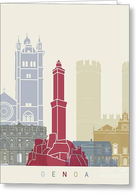 Genoa Skyline Poster Greeting Card