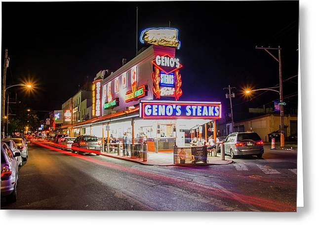 Genos Steaks - South Philly Greeting Card by Bill Cannon