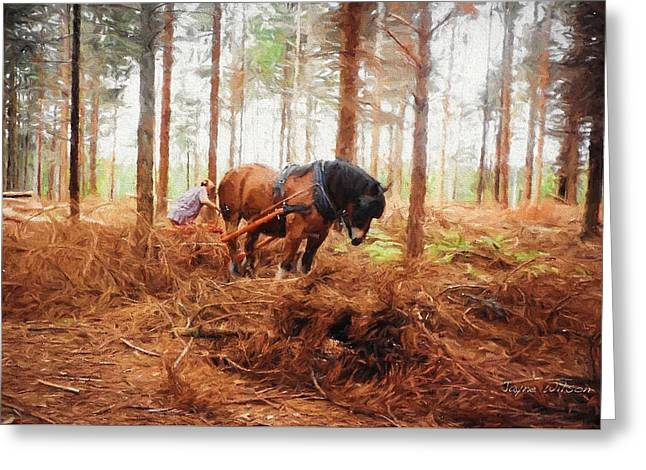 Gentle Giant - Horse At Work In Forest Greeting Card
