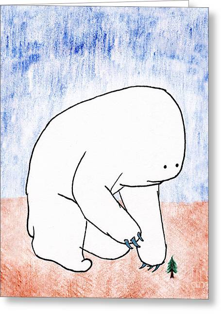 Greeting Card featuring the drawing Gentle Giant by Uncle J's Monsters