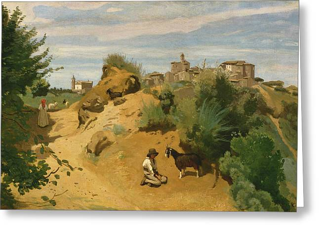 Genzano Greeting Card by Jean-Baptiste-Camille Corot