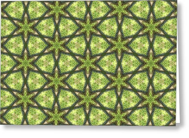 Geo Stars In Greens Greeting Card
