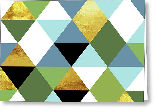 Geometric Abstract 81, Triangles, Gold, Greenery, Niagara, Kale Greeting Card by Tina Lavoie