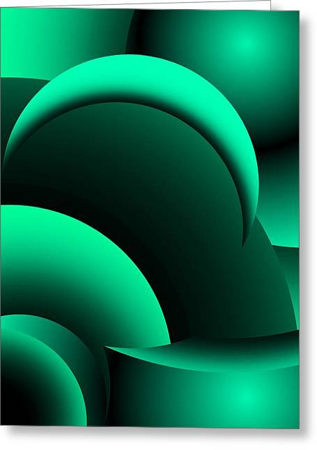 Geometric Abstract In Green Greeting Card by David Lane