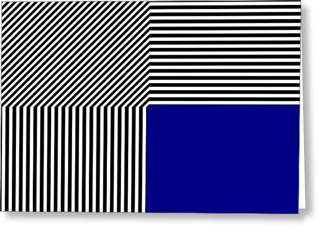 Geometric Abstraction Black And White Stripes Blue Square Greeting Card