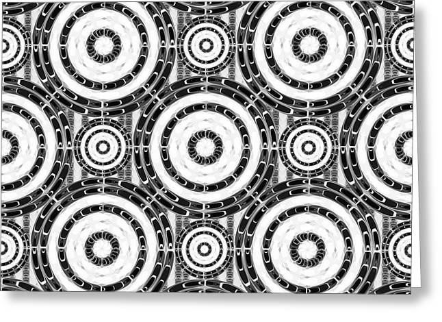 Geometric Black And White Greeting Card by Gaspar Avila
