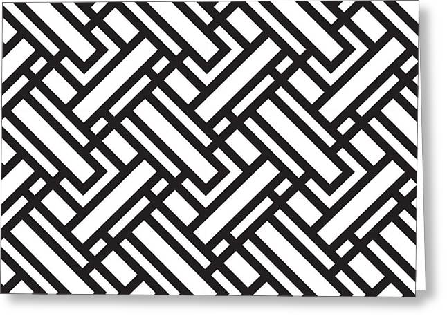 Geometric Black W Greeting Card by Mark Ashkenazi