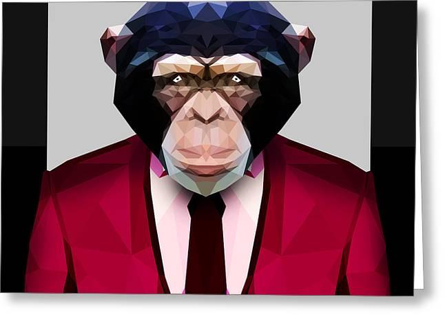Geometric Chimpanzee Greeting Card