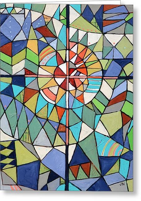 Geometric Cross Greeting Card by Jen Norton