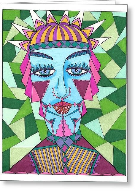 Geometric King Greeting Card