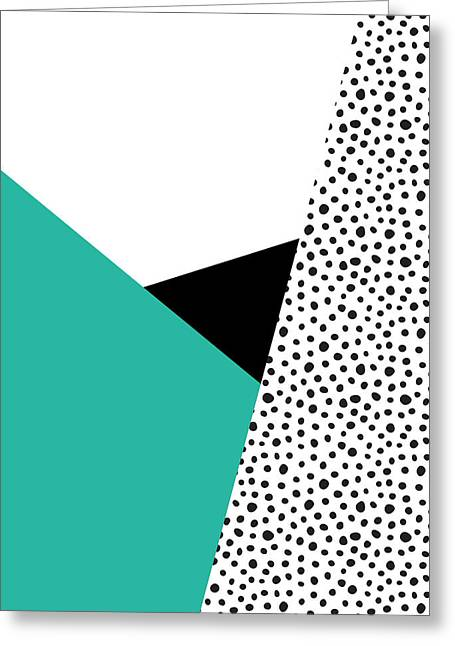 Geometric Modern Triangles With Spots Greeting Card by Rachel Follett