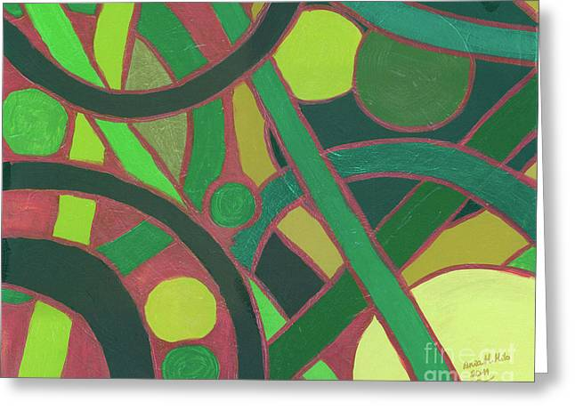 Greeting Card featuring the painting Geometric Study Green On Copper by Ania M Milo