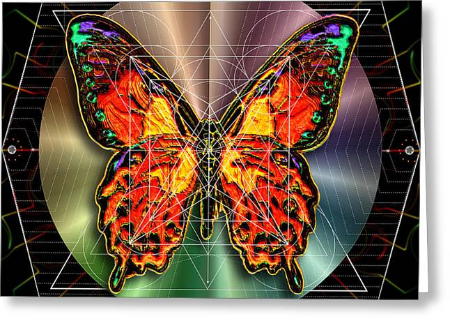 Greeting Card featuring the digital art Geometron Fyr Lepidoptera by Iowan Stone-Flowers