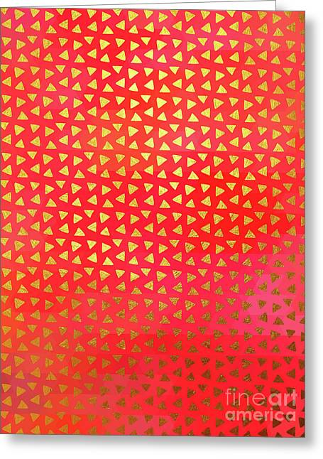 Geometry II, Golden Triangles Over Colourful Chevron Pattern Greeting Card by Tina Lavoie