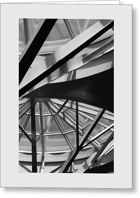 Geometry In Black And White Greeting Card by Winnie Chrzanowski