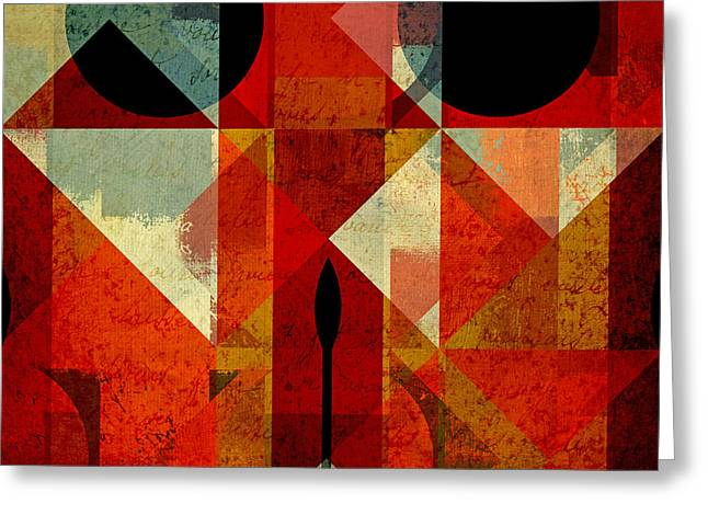 Geometric Art Greeting Cards - Geomix-04 - 39c3at22g Greeting Card by Variance Collections