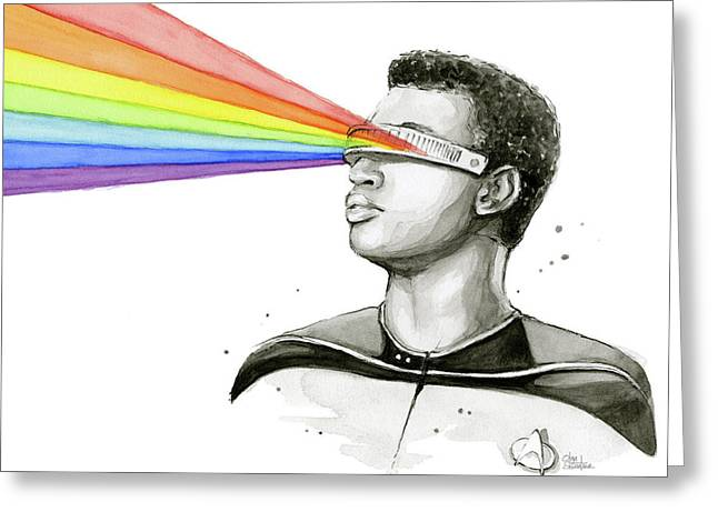 Geordi Sees The Rainbow Greeting Card by Olga Shvartsur
