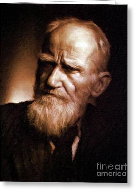 George Bernard Shaw, Literary Legend By Mary Bassett Greeting Card by Mary Bassett