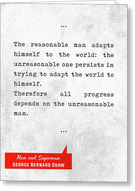 George Bernard Shaw Quotes - Man And Superman - Literary Quotes - Book Lover Gifts - Typewriter Art Greeting Card