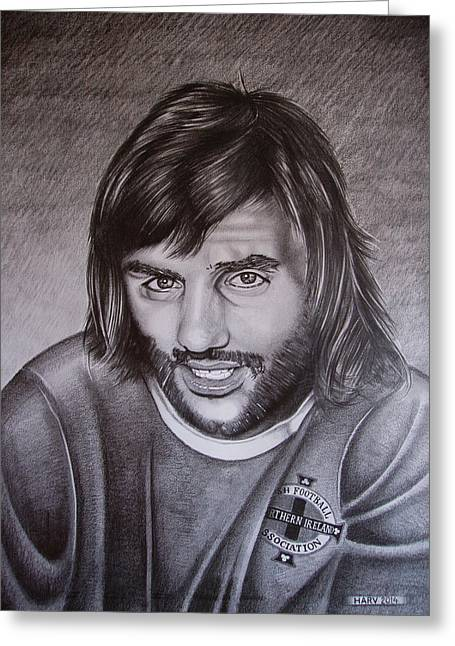 George Best, I Squandered The Rest Greeting Card by Harv Harbinson