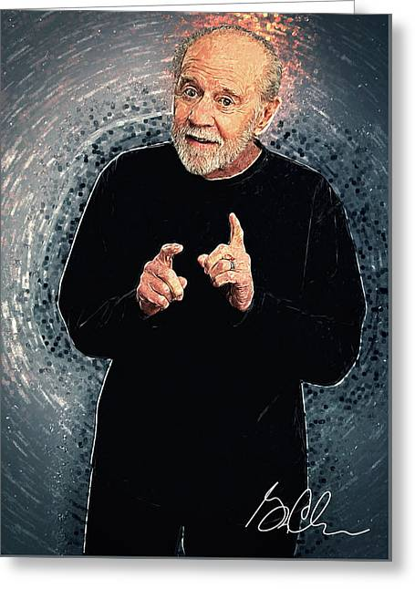 George Carlin Greeting Card by Taylan Apukovska