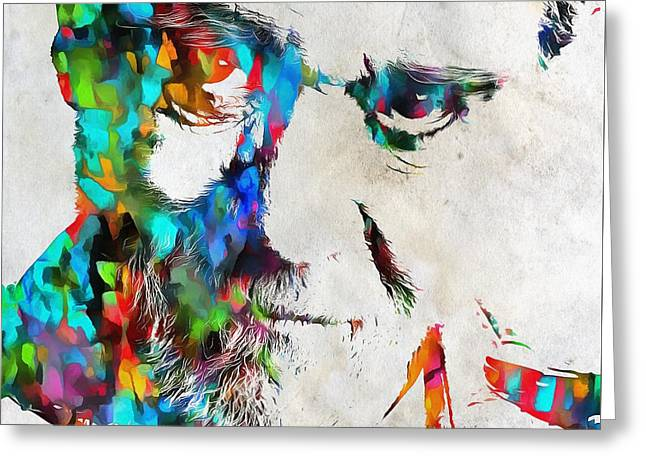 George Carlin Watercolor Abstract Greeting Card by Dan Sproul