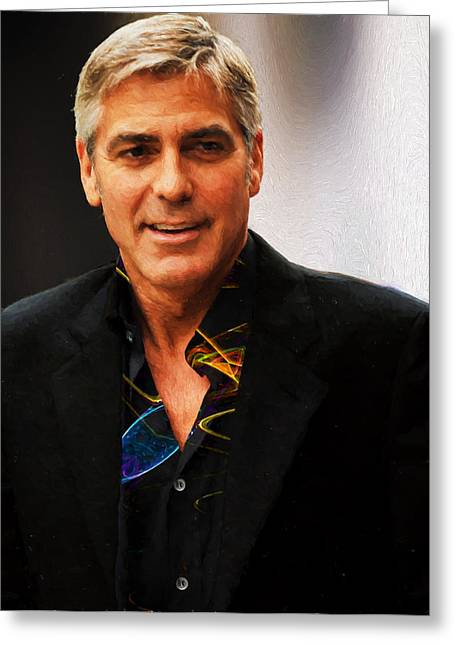 George Clooney Painting Greeting Card
