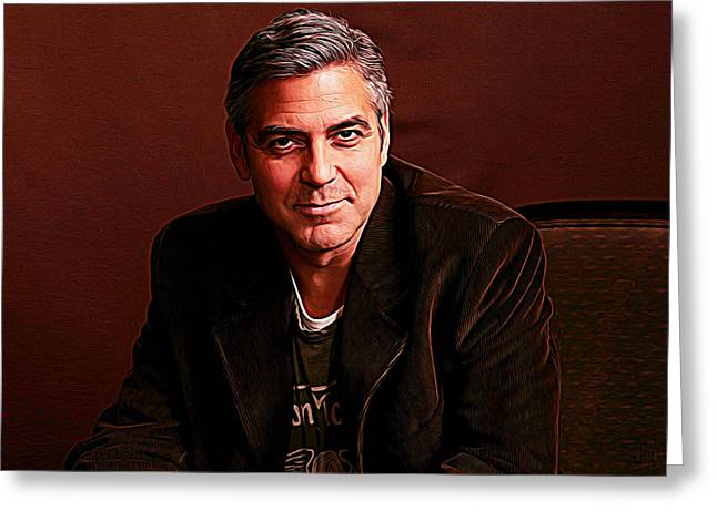 George Clooney Greeting Card by Iguanna Espinosa