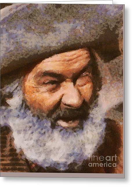 George Gabby Hayes, Vintage Western Legend Greeting Card by Mary Bassett