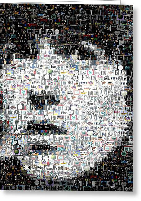George Harrison Mixed Media Greeting Cards - George Harrison Mosaic Greeting Card by Paul Van Scott