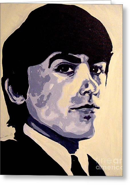 George Harrison Psychedelic Beatles 60's Greeting Card by Margaret Juul
