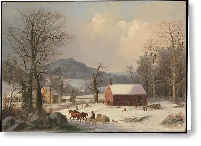 George Henry Durrie    Red School House Country Scene Greeting Card