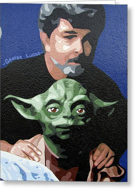George Lucas With Yoda Greeting Card