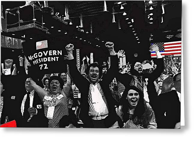 George Mcgovern Supporters Democratic Nat'l Convention Miami Beach Florida 1972-2008 Greeting Card by David Lee Guss