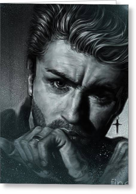 George Michael Greeting Card by Andre Koekemoer