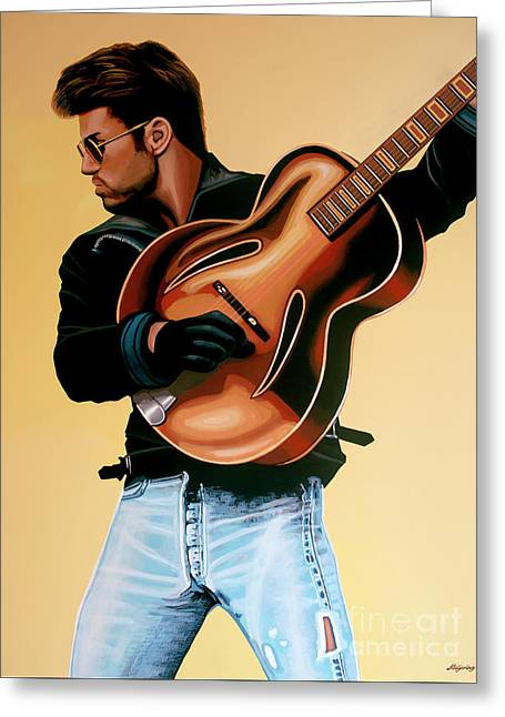 George Michael Painting Greeting Card by Paul Meijering