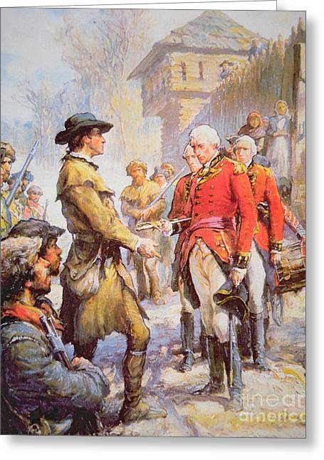 George Rogers Clark Accepts The Surrender Of British Commander Henry Hamilton At Fort Sackville Greeting Card by Newell Convers Wyeth