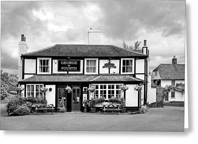 George The Fourth Pub In Black And White Greeting Card