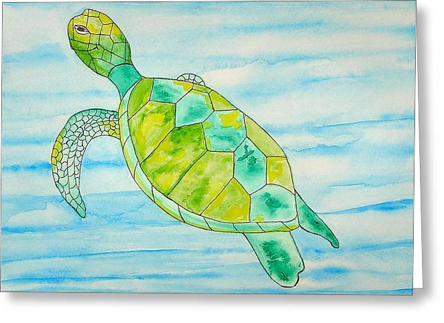 Greeting Card featuring the painting George The Hawaiian Sea Turtle by Erika Swartzkopf
